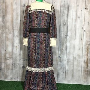 Vintage Prairie Maxi Dress Liberty House Lace